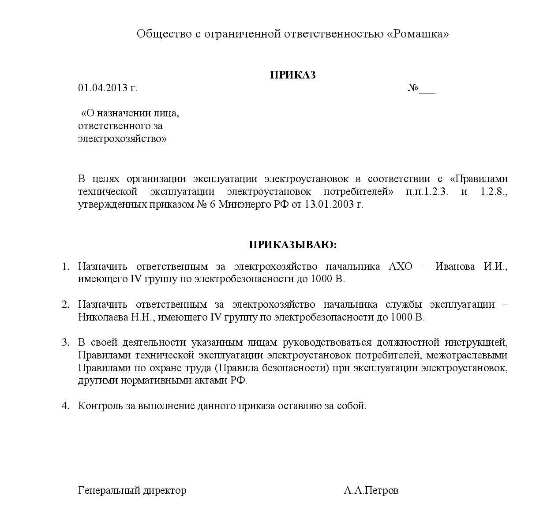 Приказ о назначении ответственного за эл.хозяйство-page-001