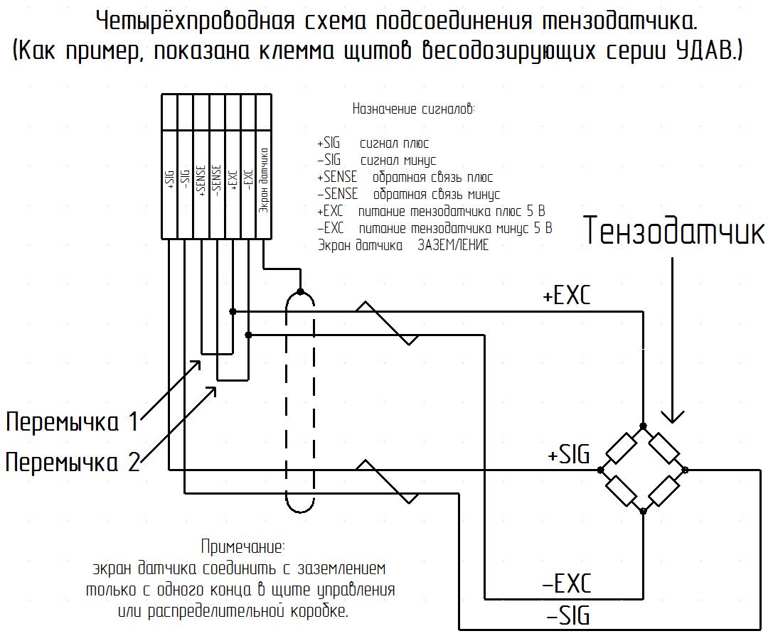 схема подключения четырех тензодатчика