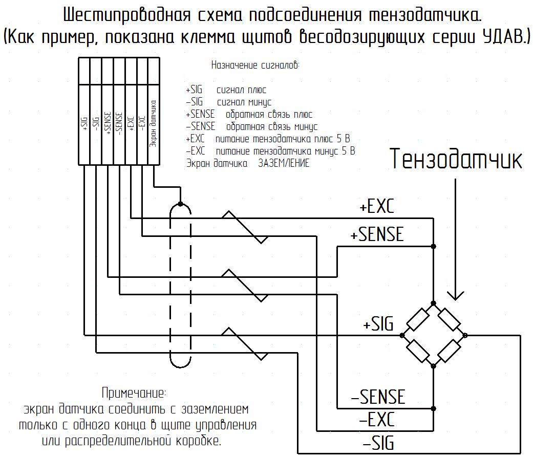 схема подключения шестипроводного тензодатчика