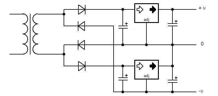 Схема с использованием двух положительных стабилизаторов