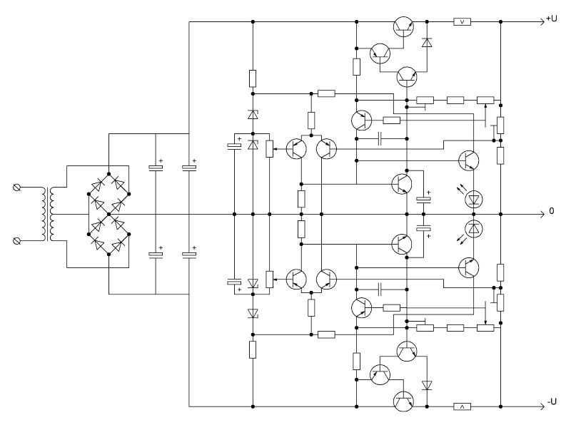 Стабилизатор, собранный на дискретных элементах