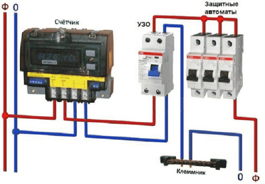 Подключение УЗО в однофазной двухпроводной системе