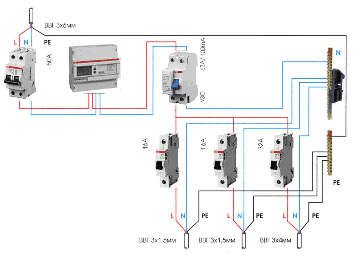 Подключение УЗО в однофазной трехпроводной системе