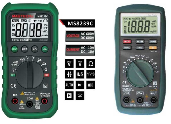 Автоматические мультиметры на шкале имеют только виды измерений