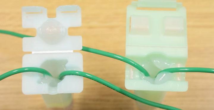 СИЗ с проводами утопленный в контейнере с силиконом