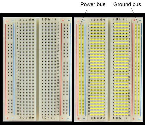 Схема breadboard макетной платы для Arduino