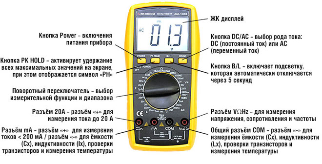 Как пользоваться мультиметром – измерение напряжения, силы тока и сопротивления