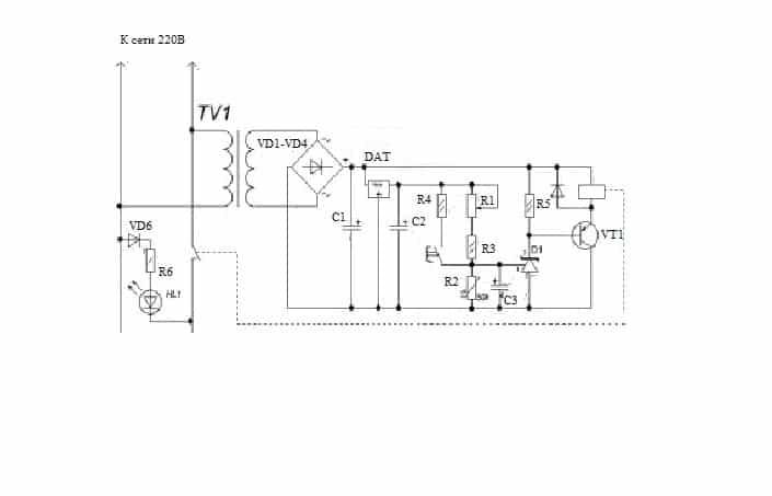 Схема простейшего терморегулятора