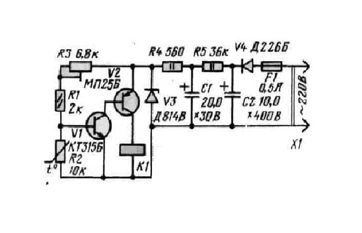 Схема терморегулятора №1