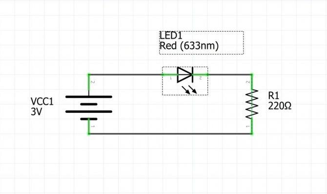 Принципиальная схема. Сборка схемы со светодиодом