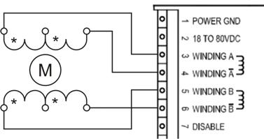 Схема подключения 6-ти выводного шагового двигателя