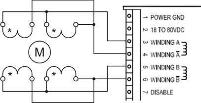 Схема подключения 8-ми выводного ШД с биполярным параллельным соединением обмоток