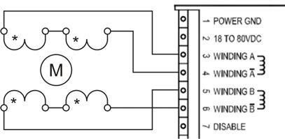 Схема подключения 8-ми выводного ШД с биполярным последовательным соединением обмоток к драйверу