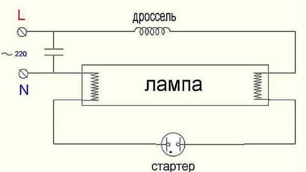 Схема из лампы и дросселя