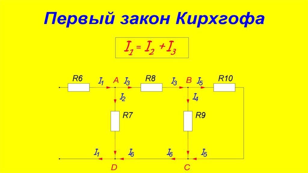 Первый закон Кирхгофа.