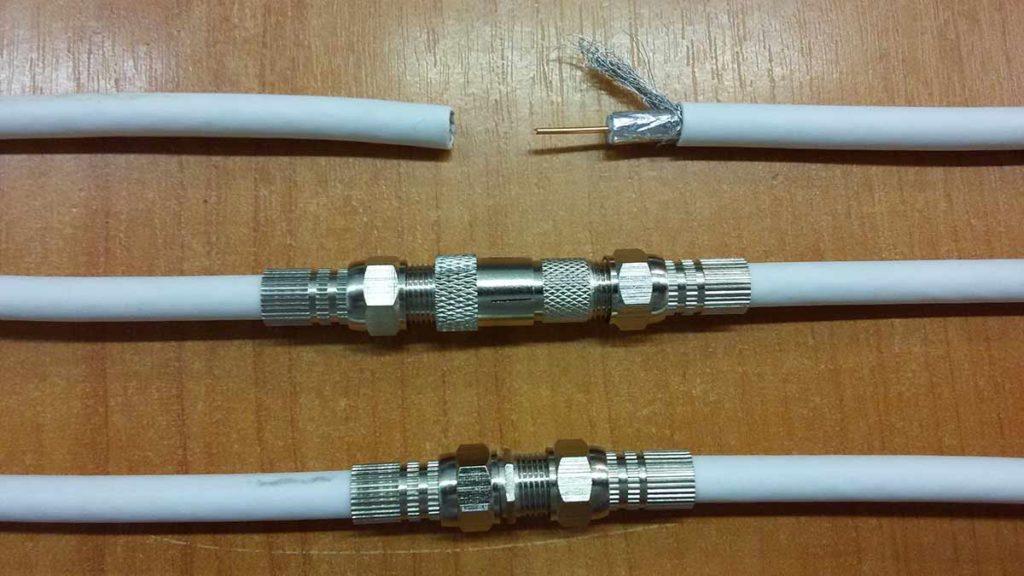Соединение телевизионных кабелей.