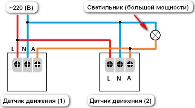 Параллельная работа двух датчиков движения.